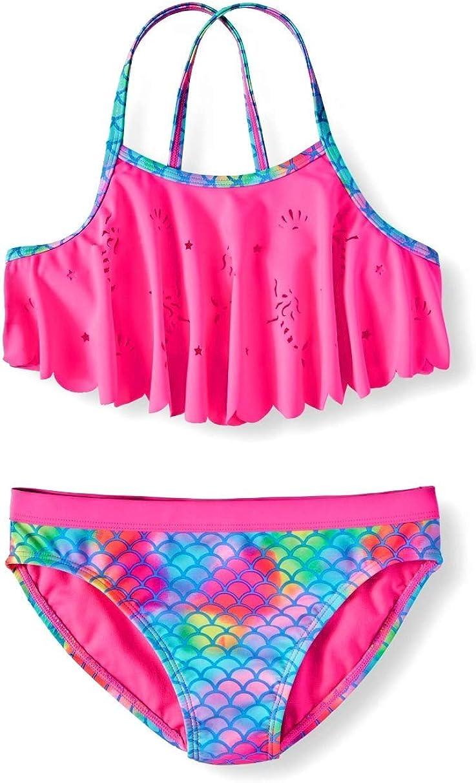 Girls Mermaid Flounce Pink Sizzle 2 Piece Bikini Swimsuit