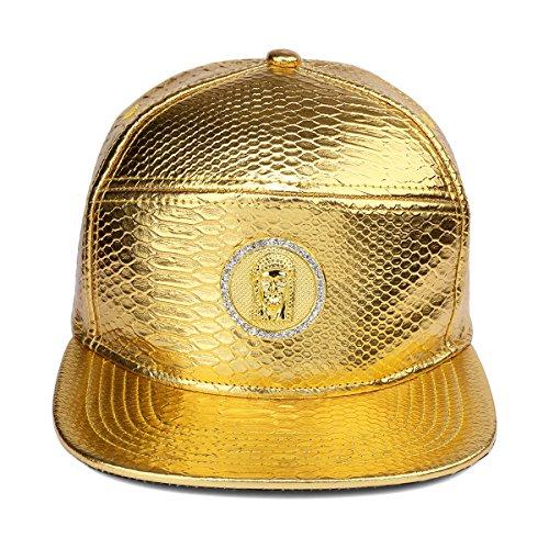 Jesús tachonado cristal ala la Oro de Hombre sombrero de hebilla PU del del plana cinturón patrón béisbol de Snapback Ronda MCSAYS Tag de cocodrilo cuero del Gorra de 1vwfW