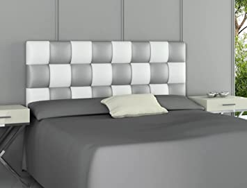 HOGAR24.es - Cabecero tapizado Polipiel Patchwork Blanco y Plata. 160 cm x 60