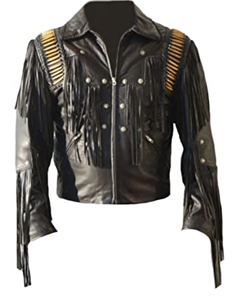 Mens Western Cowboy Real Leather Jacket Fringed & Boned Black at Amazon Mens Clothing store:
