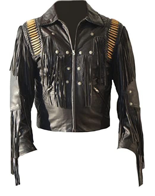 Classyak Mens Cowboy Leather Fringed Jacket Black Cow Black X-Small at Amazon Mens Clothing store: