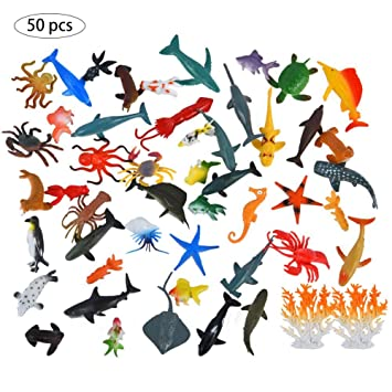 Image of: Kids Amazoncom 50pcs Sea Ocean Animals Toy For Kids Simulation Marine Animal Models Education Cognitive Toy For Boys And Girls perfect Gift Baby Appsftw Amazoncom 50pcs Sea Ocean Animals Toy For Kids Simulation Marine