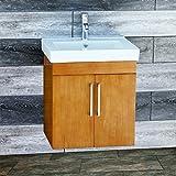 Solid wood 24'' Bathroom Vanity Cabinet CMS-CT Ceramic Top integrated Sink + Faucet & Drain