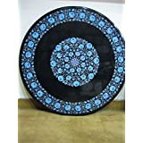 """36"""" Black Coffee Table Side Table End Table Patio Garden Table Sofa Table Round Shape Stones Inlai Marble Table Top"""