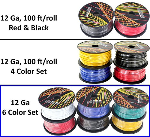 GS Power 12 Gauge Ga, 6 Rolls of 100 Feet (600 ft total) Primary Wire. CCA Cable for Car Audio Stereo Amplifier Remote Turn Automotive Trailer Signal Wiring. Color: Black Red Blue Yellow White Green 12 Ga 100' Primary Wire