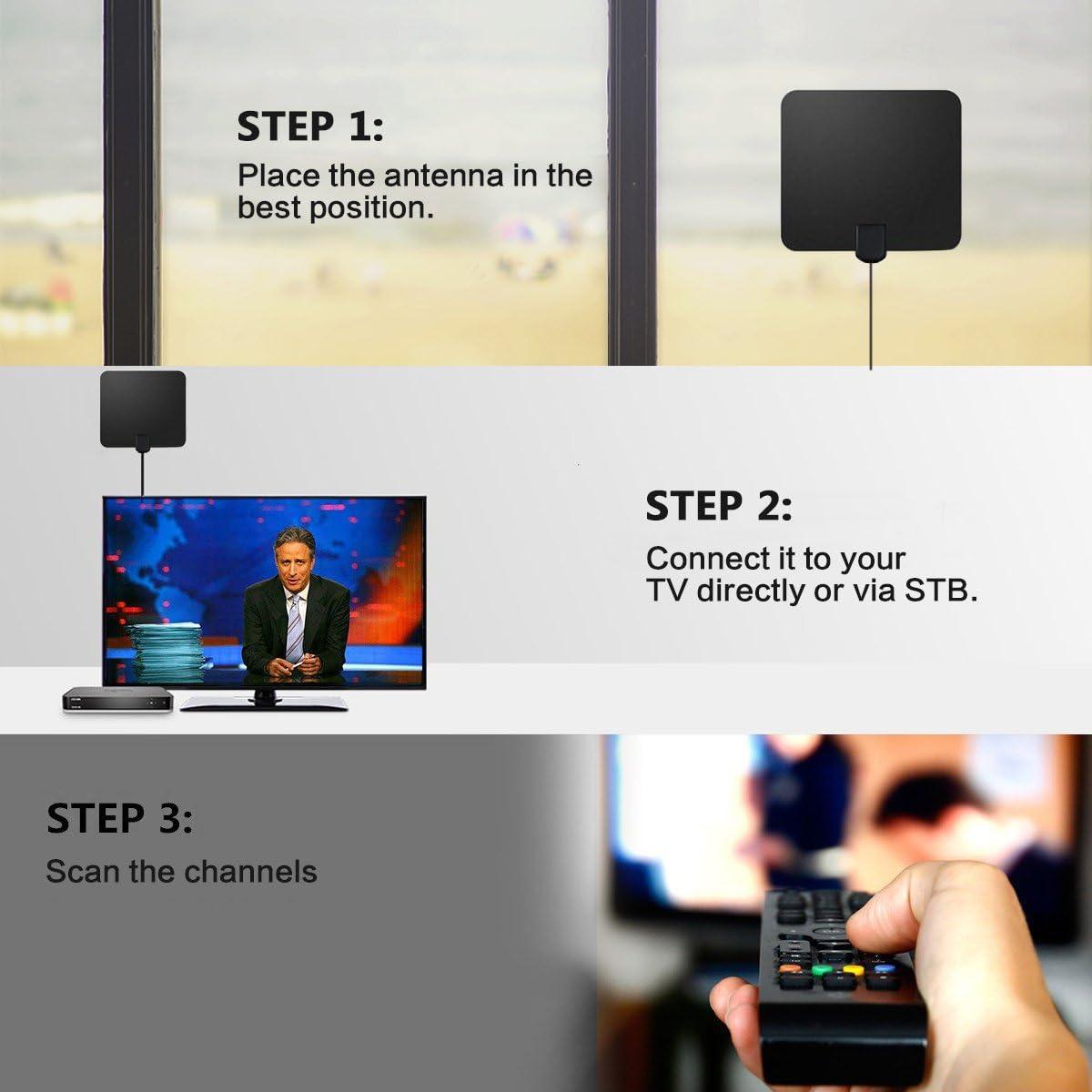 Antena de TV Interior,Nextbox Amplificador Antena Digital HDTV,50 Millas Gama de Recepción, 5M Cable Alto Rendimiento,Ultra Delgado Amplificador de Señal Removible: Amazon.es: Electrónica