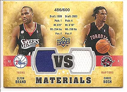 dbe2a31c7 Chris Bosh Elton Brand 2009-10 Upper Deck 2-Color Dual Jersey Basketball  Card