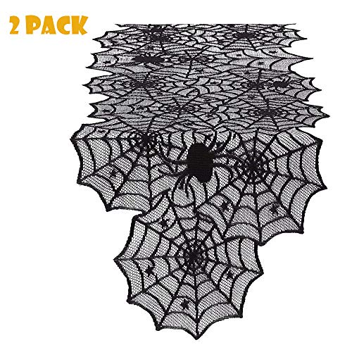 ZIMCA [2 Pack] 20x80 Polyester Lace Table Runner, Black Spider Web - Perfect for Halloween, Dinner Parties and Scary Movie Nights -