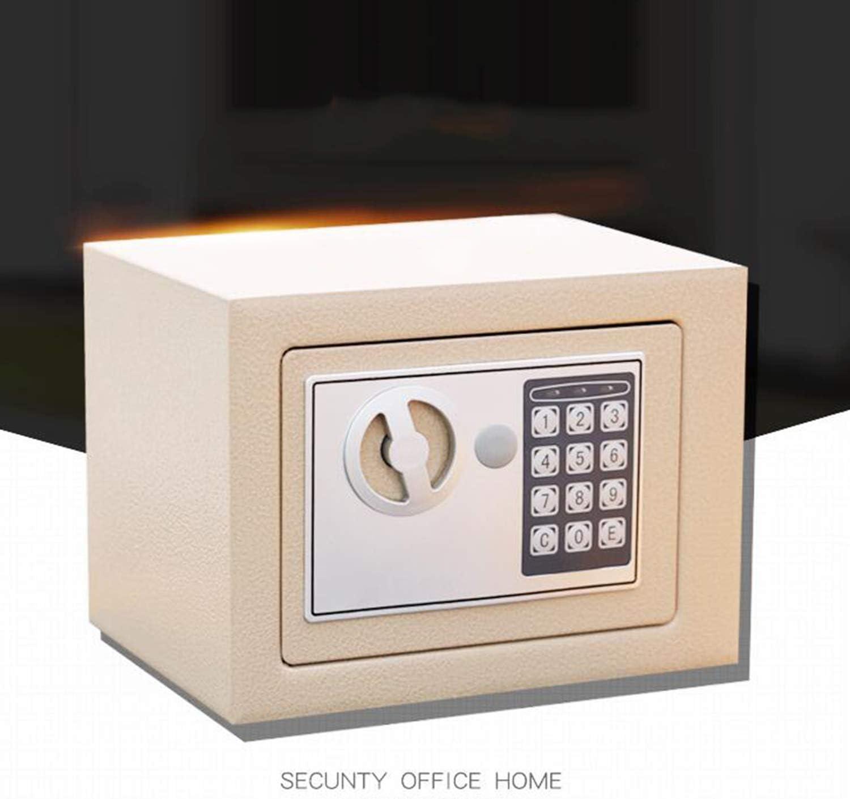 Coloreado Caja De Seguridad De Contrase/ña Electr/ónica,Llave Mec/ánico Todo Acero Casa Oficina Anti-Robo Mini Multifuncional Armario Brown ZHIYI