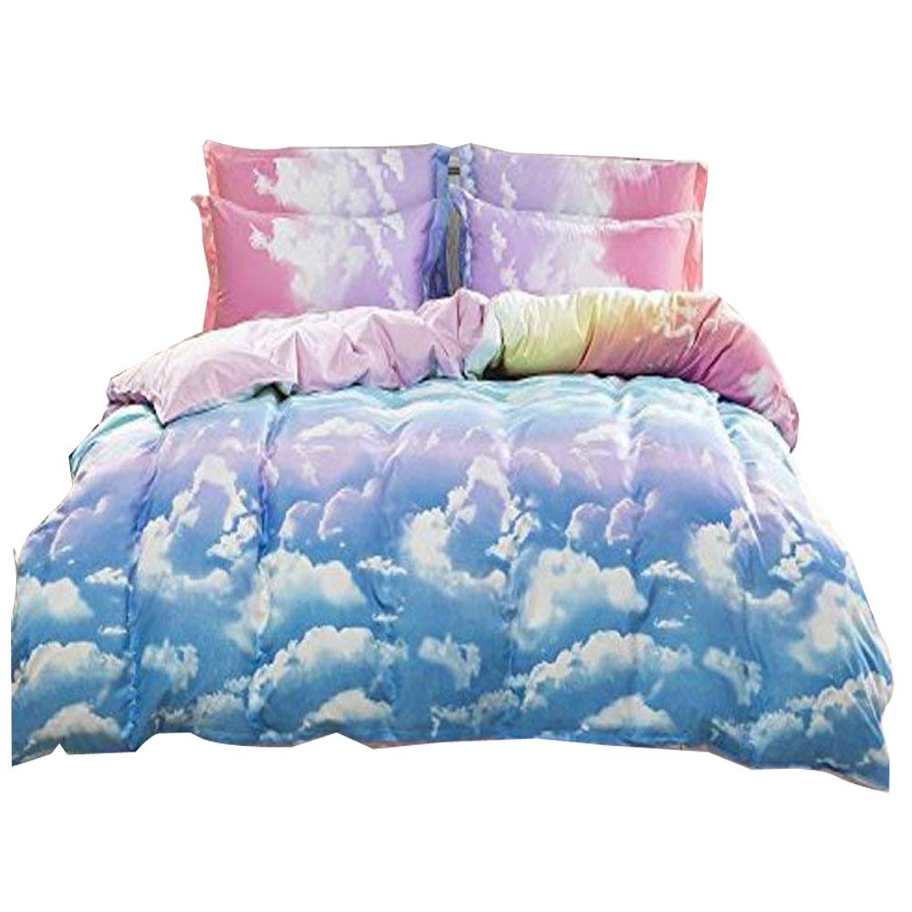 Hxiang 3-Pieces Size Duvet Cover Bed Set, Cotton & Microfiber Rainbow Cloud (Full, pink,blue)