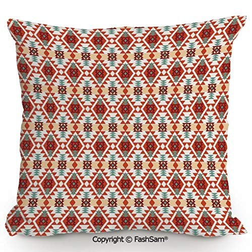 """FashSam Home Super Soft Throw Pillow Prehistoric Traditional Folk Motif with Geometric Triangles Native Design for Sofa Couch or Bed(18"""" Wx18 L)"""