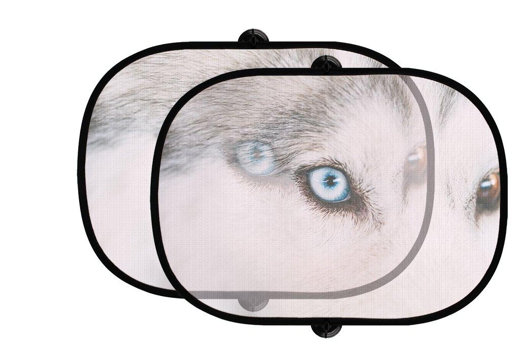 On Blue Eyeハスキーの子犬犬2個折りたたみ式自動ウィンドウサンシェードメッシュ B0758RWJMW
