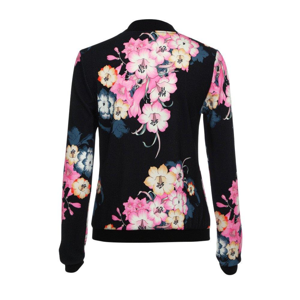 Damen Floral Jacke Frauen Mädchen Blouson Übergangsjacke mit Blumen Blüten  MYMYG Bikerjacke Fliegerjacke Kurzjacke Sportwear Blumendruck mit  Stehkragen ... e5baad6fef