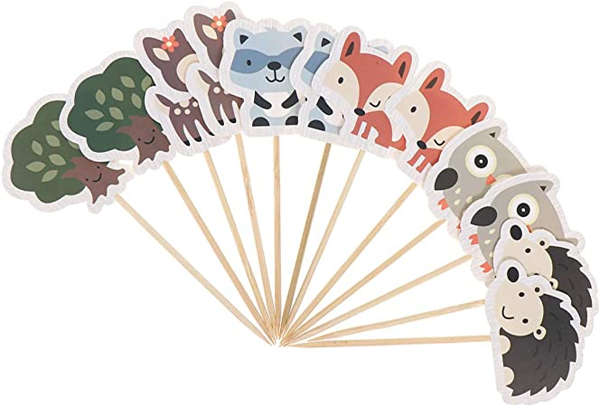 24Pcs Owl Cupcake Toppers Cake Decorations Party Birthday Supplies