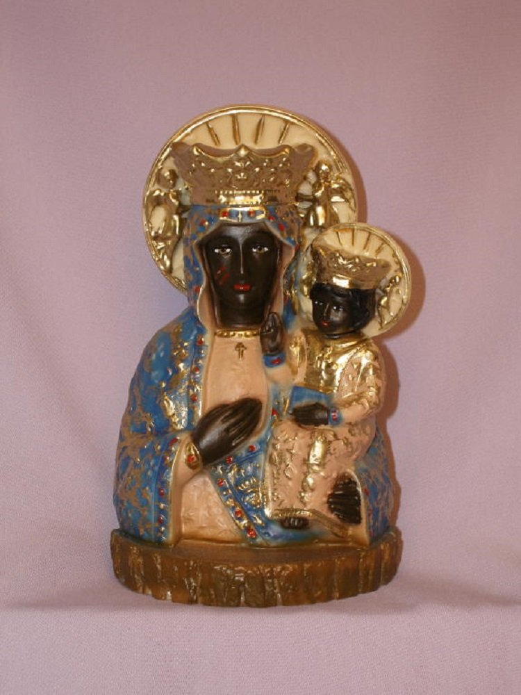 Our Lady of Czestochowa in hand-painted alabaster, 7.75inches. Made in Italy
