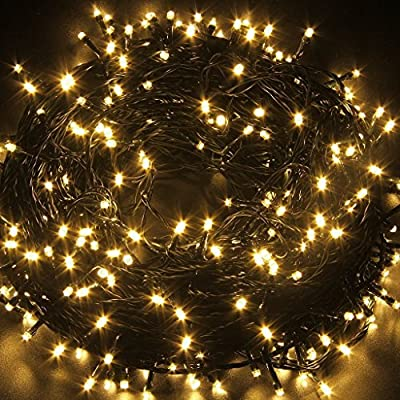 Indoor/Outdoor String Lights with 8 Color Changing Modes, 39ft 100LED Wire lights, Waterproof Rope Lights, Fairy Twinkle Decorative Lights for Party/Christmas/Patio/Garden and Home (Warm White)