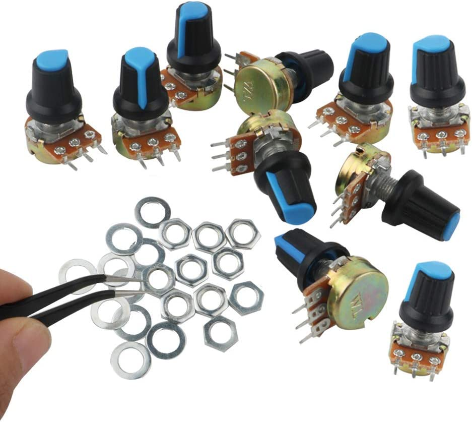 Potentiometre 20k, WH148 1 /× pincettes anti-statiques RUNCCI 10Pcs Lin/éaire Rotatif Potentiom/ètre