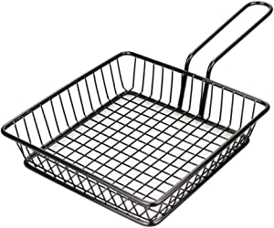 Mini Chips Fry Basket,French Fries Holder,Square Stainless Steel Fry Basket,Food Presentation Serving Baskets With Handle,for Chips,Shrimps,Onion Rings,Kitchen,Restaurant Tool