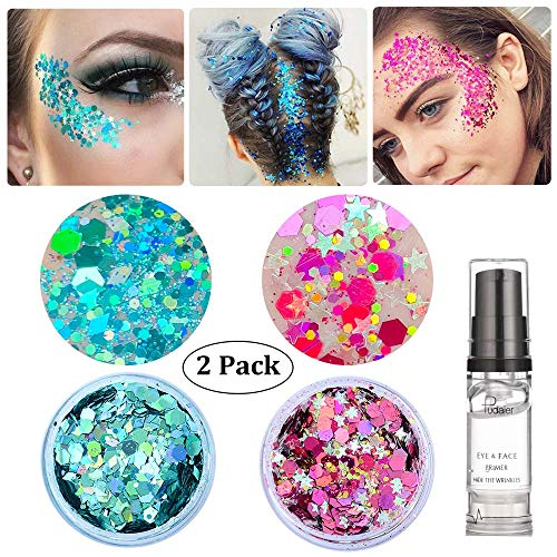 Holographic Chunky Body Glitter, Christmas Decorations Makeup Beauty Festival Cosmetic Glitter With Free Primer Gel, Face Body Hair Nails (Green&Red)