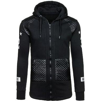 56156d06788 IEason Men Top Men Leather Winter Warm Hooded Sweatshirt Coat Jacket  Outwear Sweater (M