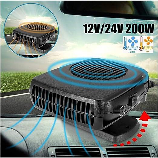 HOXMOMA Calefacción para Coche Portátil 12 V 200 W, 2 en 1 Ventilador de refrigeración para calefacción, descongelador de Coche, Enchufe para mechero con Soporte Giratorio de 360 Grados,24V: Amazon.es: Hogar