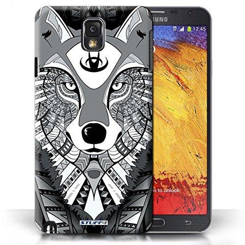 Etui / Coque pour Samsung Galaxy Note 3 / Loup-Mono conception / Collection de Motif Animaux Aztec