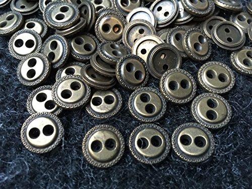 ShopForAllYou Buttons Craft Sewing 50 Antique (Old) Brass Italian Metal Button 13mm 1/2
