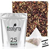 Tealyra - Caribbean Punch - 25 Bags - Hibiscus - Lemongrass - Rosehips - Herbal Fruity Karkade Loose Leaf Tea - Vitamines Rich - Hot and Iced tea - Caffeine-Free - Pyramids Style Sachets