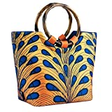 CHAUDER Insulated Neoprene Lunch Bag: Large Lunch Tote Carry Case Box Cooler Container with Zipper, Washable, Reusable, For Women, Girls, To School, Office (Ankara Peacock)