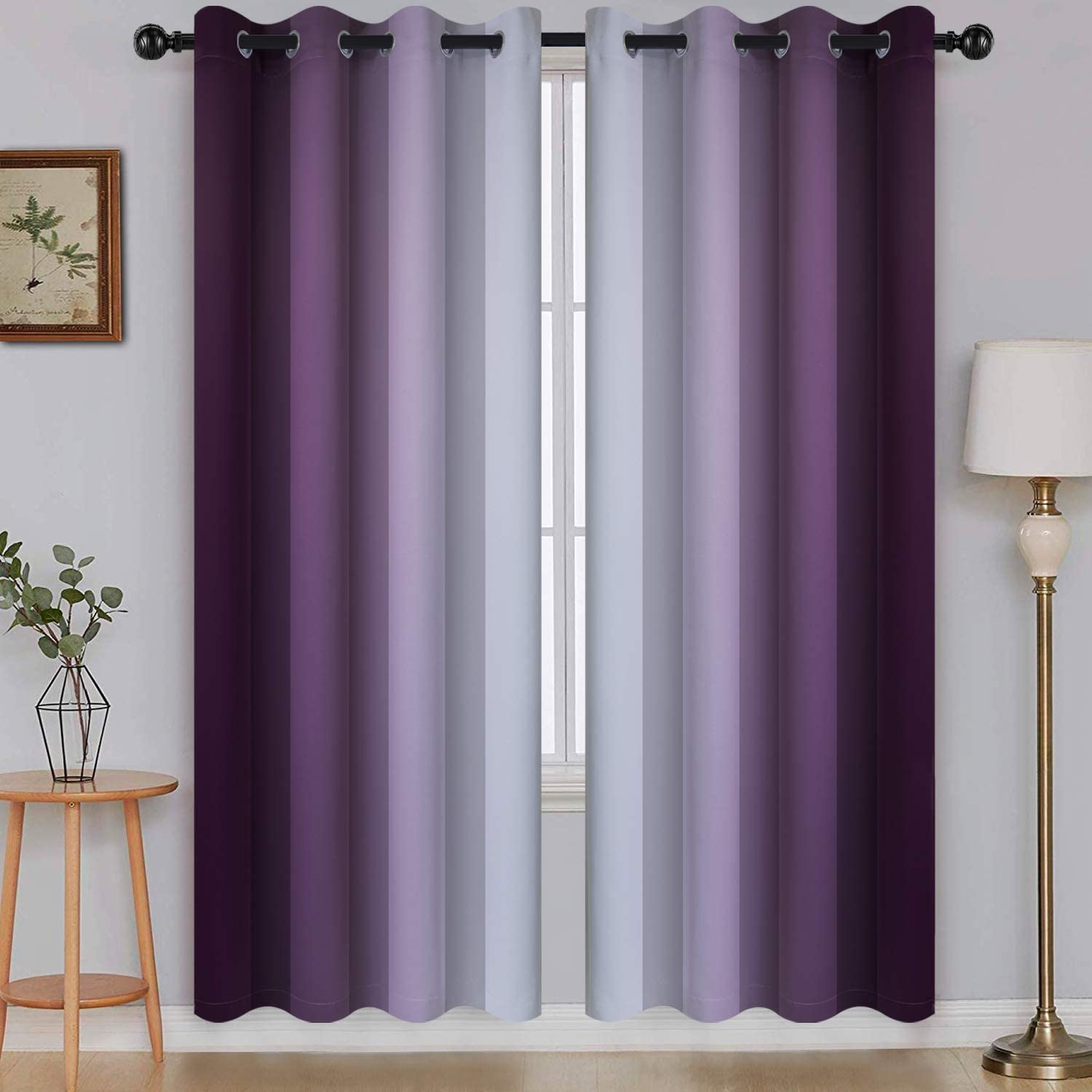Ombre Room Darkening Curtains for Living Room, Light Blocking Gradient Purple to Gray White Thick Thermal Insulated Grommet Window Curtains /Drapes for Bedroom, 2 Panels, 52x72 inches Length