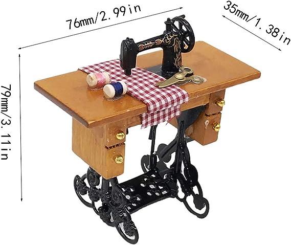 Máquina de coser en miniatura con tijeras de madera para ...