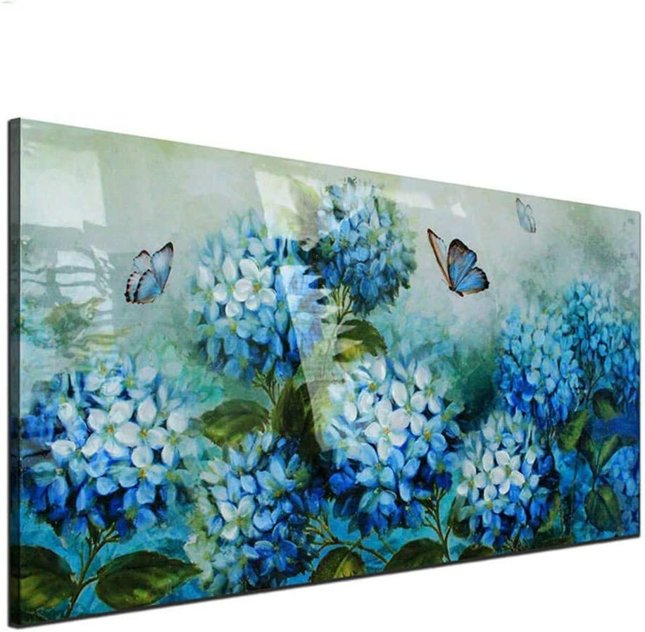 DIY Pintura Diamante 5D Kit Grande Cuadro Flores de hortensia azul Completo Diamond Painting Adultos Niño Cristal Rhinestone Puzzle Punto Cruz Bordado Art Home Pared Decor R369 Square Drill,70x140cm