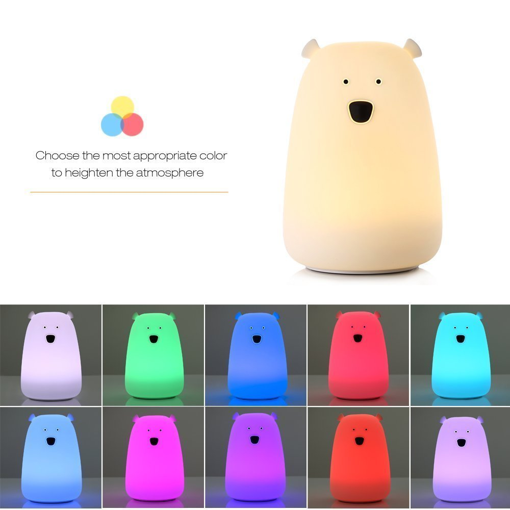 Joyhero Children Night light ,USB Rechargeable 7-Color Breathing Modes and Single Color 3-Modes Portable Silicone LED Night Lamp,best nightlight for baby (01)