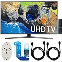 Samsung UN55MU7000 54.6 4K Ultra HD Smart LED TV (2017 Model) w/ Accessories Bundle Includes, Transformer Tap USB w/ 6-Outlet Wall Adapter & 2 Ports, 2x 6ft. HDMI Cable & Screen Cleaner For LED TVs