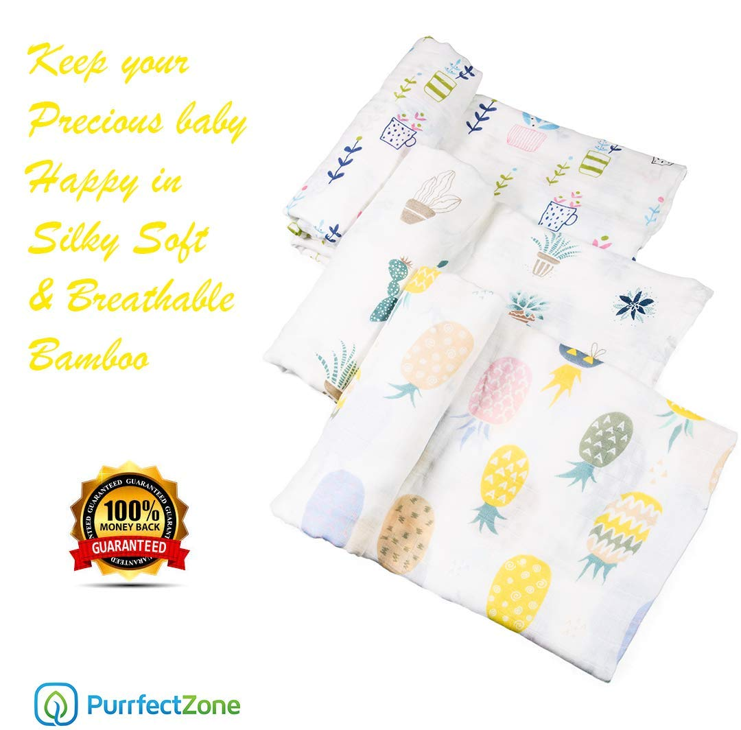 PurrfectZone Silky Soft Large Bamboo Muslin Swaddle Blankets Girls, Flamingo