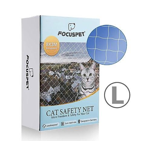 Focuspet Red de Proteccióno para Gatos, 3 X 8M Red de Seguridad Animales para Balcones y Ventana Red de Grilla de Protección Transparente Se Puede ...