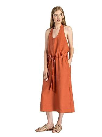 4927d701d45 ETNODIM Woman Embroidered Ukrainian Ethnic Linen Dress (16-18 (Exta Large))