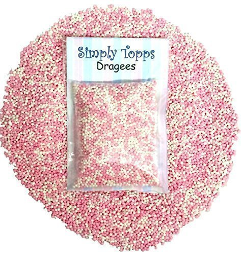 (Pink & White Mini Sugar Balls 30g (approx 1mm diameter) for cake or cupcake decorations)