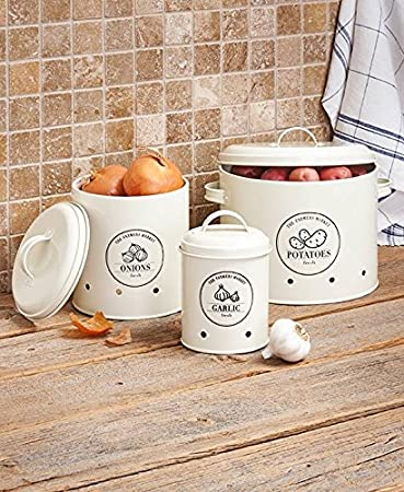 Metal Food Storage Crocks. Set Of 3 Onions, Potatoes And Garlic Kitchen  Storage