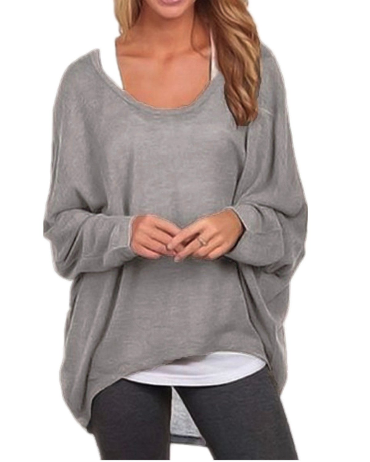 ZANZEA Women's Long Batwing Sleeve Loose Oversize Pullover Sweater Top Blouse Gray US 8/Tag Size M