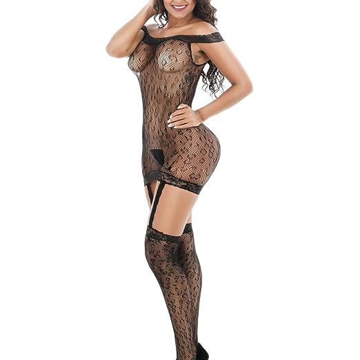 3a876b79246 QueensHot Sexy Erotic Sheer Leopard Lace Nighties Gart Belt Bodysuit  Stocking Lingerie Babydoll Dress Black