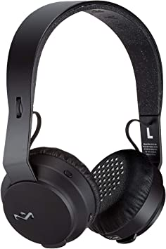 Amazon Com House Of Marley Em Jh101 Bk Rebel Wireless Bluetooth On Ear Headphones With A Microphone Black Large Electronics