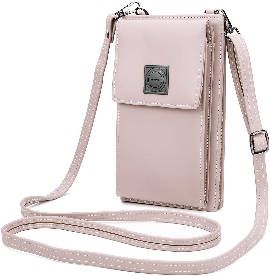 OURBAG Billetera de cuero con estilo de las mujeres Monedero pequeño y lindo Mini bolso de hombro Bolsa de teléfono Rosado