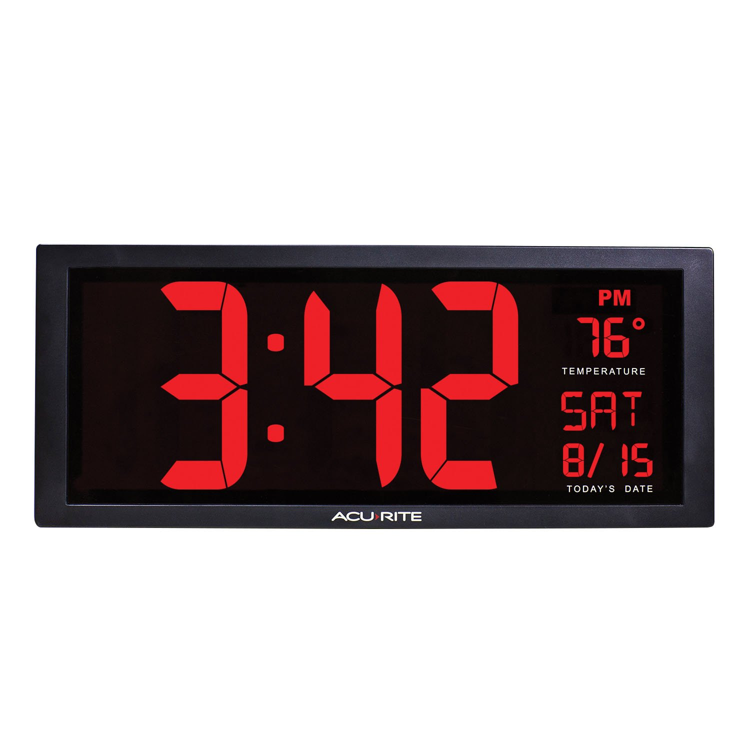 AcuRite 75127 Oversized LED Clock with Indoor Temperature, Date and Fold-Out Stand, 14.5''