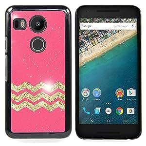 For LG GOOGLE NEXUS 5X H790 Case , Oro Modelo de estrellas Pink Glitter - Diseño Patrón Teléfono Caso Cubierta Case Bumper Duro Protección Case Cover Funda