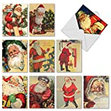 M2280 Santiques: 10 Assorted Christmas Notecards Featuring Retro Images Of Jolly Ol' St. Nick, w/White Envelopes - Folded Cards
