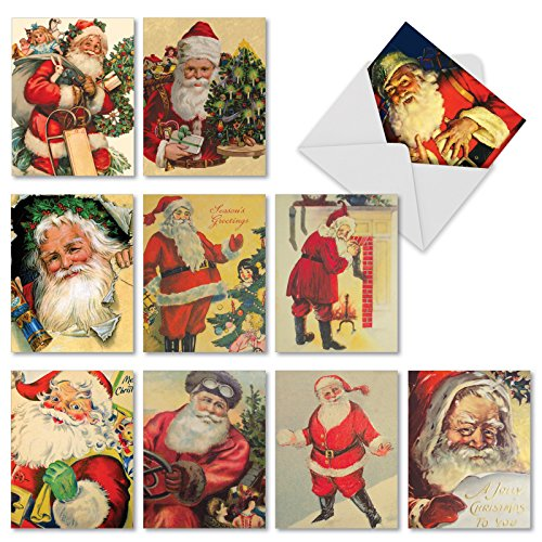 Vintage Santa Christmas Card - Santiques' Christmas Greeting Cards, Boxed Set of 10 Vintage-Looking Santa Claus Cards 4 x 5.12 inch, Assorted Retro Kris Kringle Cards, Antique Jolly Old Saint Nick Holiday Notes M2280