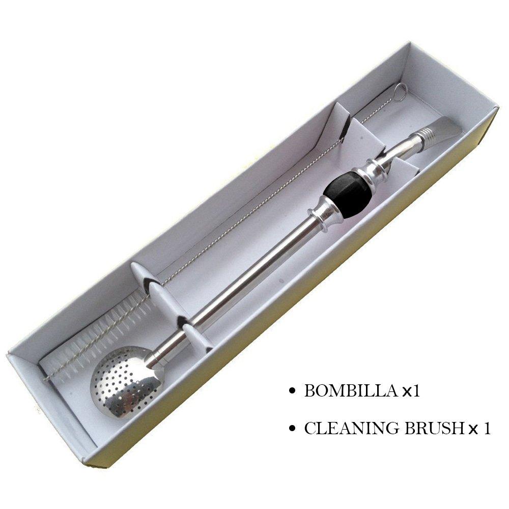 Uomere Ensemble en acier inoxydable Paille Bombilla et paille Cuill/ère avec filtre amovible T/ête et brosse de nettoyage noir