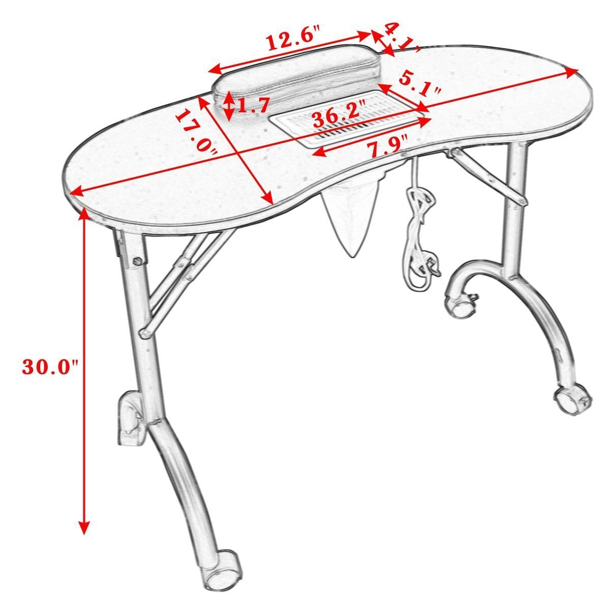 Giantex Folding Portable Vented Manicure Table Nail Desk
