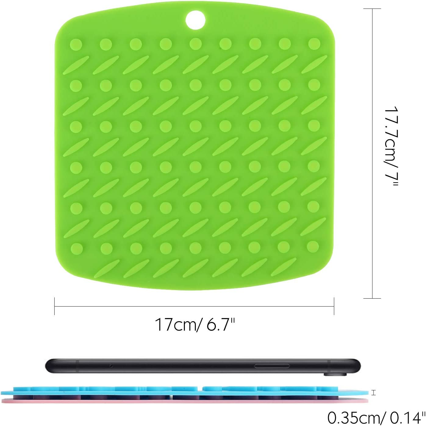 Colorful Oven Mitts and Coasters Nuovoware Silicone Trivet Mats,5 Pack Heat Insulated Hot Pan Pot Holders Squared Drying Mat Table Placemats for Non-Slip Jar Opener